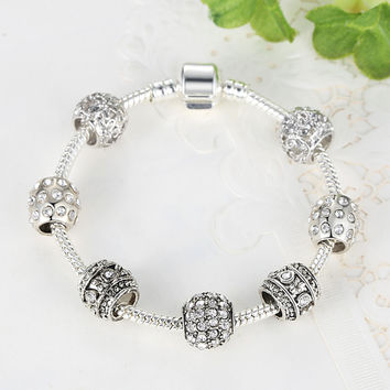 Silver Tone Bracelet - High Quality Glass Beads
