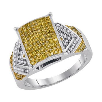 Ladies 10KT White Gold Canary Yellow Diamond Engagement Bridal Ring 0.45CTW
