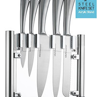 6 Piece Stainless Steel Knife Set With Acrylic Stand - Cutlery Set For Cutting & Carving Great for Use in Cooking at Home And Commercial Kitchen - By Kitch N' Wares