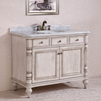 """Legion Furniture WH2747-WHITE 47"""" Solid Wood Sink Vanity With Marble Top And Backsplash In Antique White"""