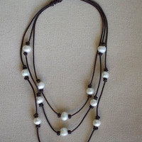 Leather and Pearls Layered Necklace