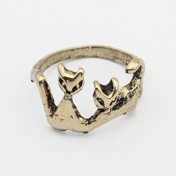 Gift Jewelry Shiny New Arrival Fashion Stylish Strong Character Cats Metal Vintage Accessory Ring [4918813380]