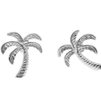 SOLID 925 STERLING SILVER RHODIUM HAWAIIAN PALM TREE STUD POST EARRINGS 11.30MM