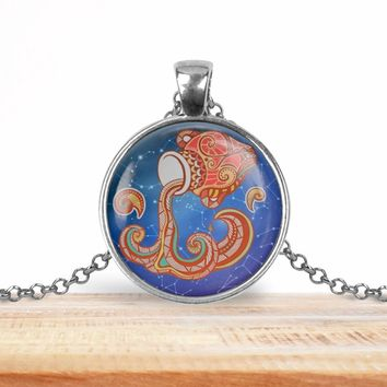 Aquarius zodiac pendant, blue, your choice of silver or bronze and necklace or key ring
