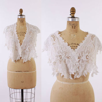 Victorian EMBROIDERED Cotton LACE COLLAR / Extra  White Bridal Wedding Wide Shawl Collar Capelet