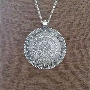 Womens Large Silver Abstract metal Boho Round Pendant on Chain