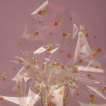 Holiday Holly Berries Printed 30 inches x 100 feet Printed Decorative Cello Gift Basket Wrap Rolls