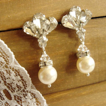 Triste Vintage Style Rhinestone Diamond and Pearl Bridal Earrings, Matching Set, Wedding Earrings, Art Deco Style Jewelry, Fairytale Wedding