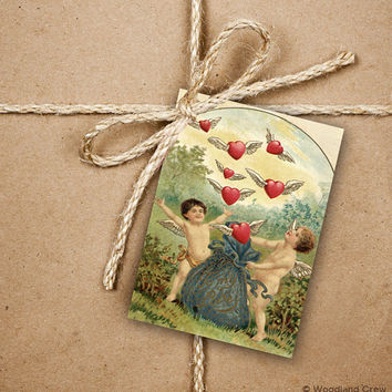 9 Valentine's Day Gift Tags, Vintage Cupids and Hearts With Wings, 2.5 x 3.5 Hang Tag, Love Product Tag With Jute Twine, Love Greeting Tags