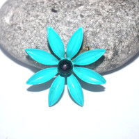 Teal Blue Flower Brooch, Small Flower Brooch, Floral Bloom Brooch, Garden Jewelry, Antique Alchemy