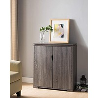 Wooden Shoe Cabinet With Spacious Storage, Distressed Gray
