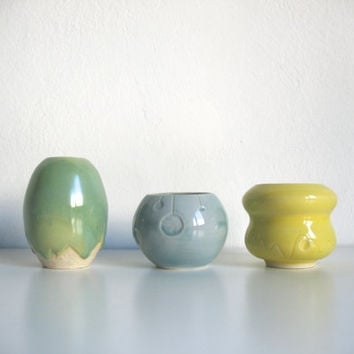 Sea inspired Unique home decor Three sea shaped vases in Mint Blue and Yellow - Ready to ship
