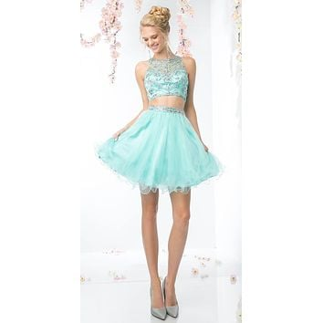 Cinderella Divine 975 Two Piece Illusion Beaded Crop Top Mint Tulle Homecoming Dress