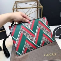 GUCCI Woman Men Envelope Clutch Bag Leather File Bag Tote Handbag I-BCZ(CJZX)