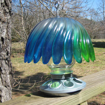 Blue & Green Scalloped Bowl Bird Feeder / Glass Bird Feeder / Lamp / Accent Lamp / Outdoor Lamp / Emergency Lighting / Battery Lamp
