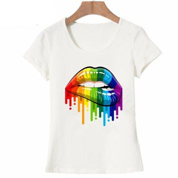 Colorful Sexy Lips T-Shirt - Ladies Crew Neck Novelty Tops