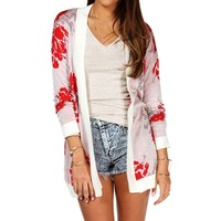 IvRdGry Floral Open Cardigan