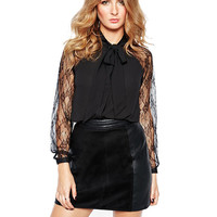 Black Lace  Long Sleeves Blouse