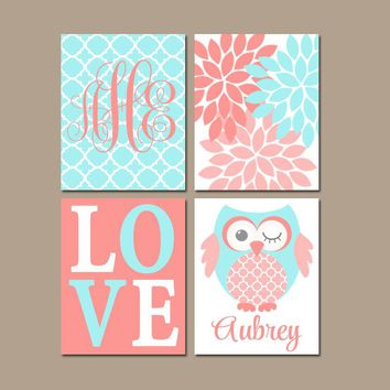 Girl OWL Nursery Decor, Coral Aqua Nursery Wall Art, Baby Girl Owl Decor, Girl Bedroom Pictures, CANVAS or Print, Love Flower Name, Set of 4