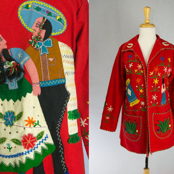 Vintage 1950s Mexican Embroidered Jacket Fab Novelty Tourist Souvenir Senorita Cactus Flowers+++