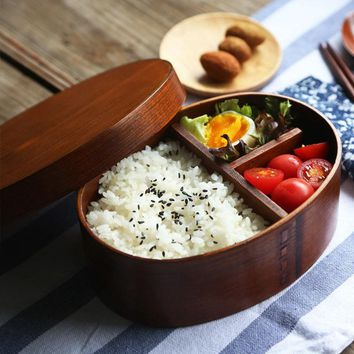 Urijk Fashion Wooden Handmade Japanese Style Sushi Bento Box Lunch Outdoor Picnic Kid School Dinnerware Bowl Food Container
