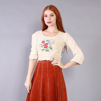 Vintage 70s Boho TOP / 1970s Embroidered Cotton Gauze Crochet Trim Cropped Crop Top Shirt