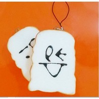 Squishy White Bread Face Expression Cell Phone Charm