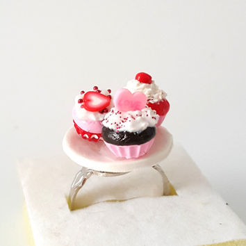 Miniature Valentine Cupcake with adjustable ring band