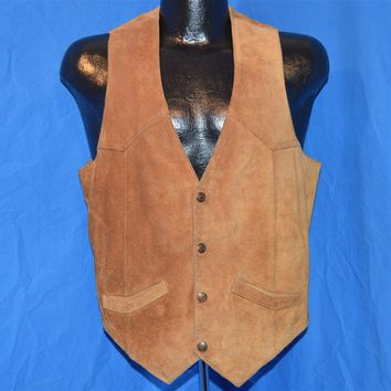 70s Brown Suede Leather Vest Men's Small