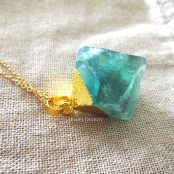 Green Quartz Necklace Aqua Stone Necklace Turquoise Ombre Mint Gold Necklace Long Gemstone Raw Crystal Modern Clear Birthstone Gift C1