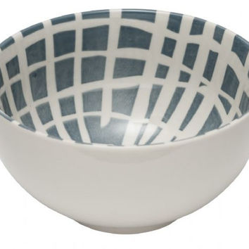 General Eclectic Large Bowl - grey grid