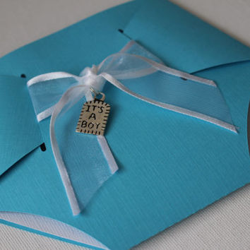 10 Diaper/Nappy Baby Shower Invitation, Thank You, or New Baby Announcement Cards, Baby Boy Blue