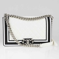 Chanel White and Black Quilted Calfskin Leather Medium Boy Bag