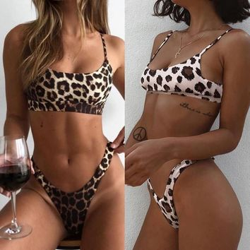 c3625a67fa Bikini 2019 Sexy Women Sexy Fashion Leopard Print Push-Up Padded