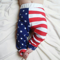 Patriotic Baby leggings,  infant leggings, red white and blue, baby boy leggings, baby girl leggings, cotton leggings, unisex baby