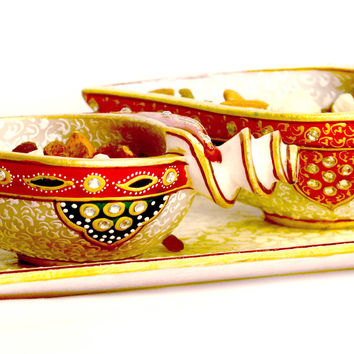 Aakashi Red White Oval Pair Bowl Set