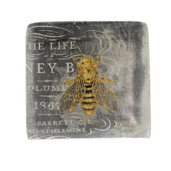 Tabletop BEE SQUARE PLATE Ceramic Hive Insect Jewelry Holder Da5200 Bee