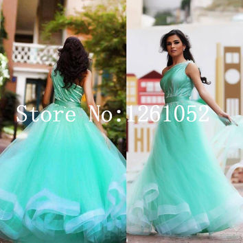 Aqua Blue One Shoulder Tulle Floor Length Tulle Prom Dress With Beaded Detail