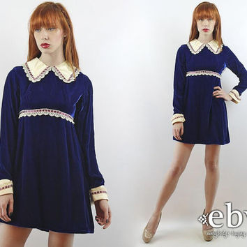 Vintage 70s Navy Velvet Babydoll Dress XS S Wednesday Adams Dress Blue Velvet Dress Navy Dress Navy Velvet Dress Longsleeve Dress Mini Dress