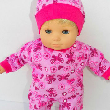 """American Girl Bitty Baby Clothes 15"""" Doll Clothes 1 Pink Butterfly Heart Flannel Top, Pants, Cap"""