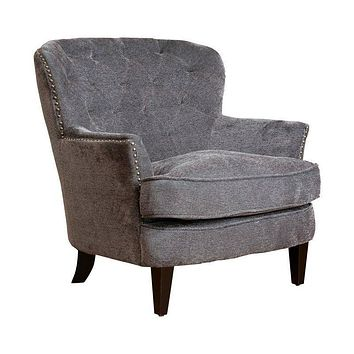 Dark Gray Mid-Century Tufted Upholstered 100% Linen Armchair