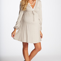 Taupe Crochet Neckline Maternity/Nursing Dress