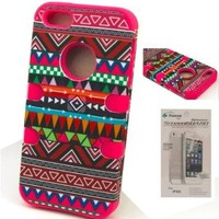 FLETRONMALL NEW ARRIVE 3 IN 1 HYBRID TRIBAL STRIPE PATTERN CASE COVER SHELL FOR IPHONE 5 5G:Amazon:Cell Phones & Accessories