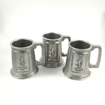 Vintage Mister Peanut Pewter Steins 1983 Planter's Nuts Commemorative