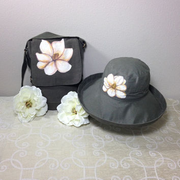 Mother's Day Gift Set Scala Big Brim Hat and Messenger Bag in Olive with Hand Painted Magnolia