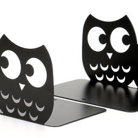 Fasmov Owls Nonskid Bookends Cute Bookends Art Bookends1 Pair (Black) Black
