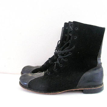 25% OFF STOREWIDE! antique 1940s felted wool WWII era Flight Aviation soft toe boots. work boots. combat boots. men's