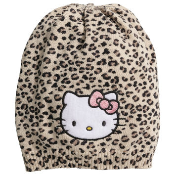 H&M - Fine-knit Hat - Leopard print/Hello Kitty - Kids