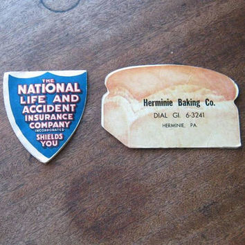 Vintage Herminie Baking Co., Pennsylvania Loaf of Bread-Shaped Figural Needle Book w/ National Life Insurance Promo Needle Folder
