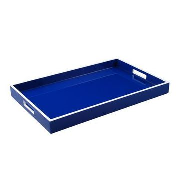 True Blue with White Trim Lacquer Breakfast Tray